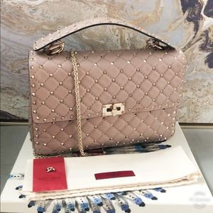 Valentino Rockstud Spike Large Blush Leather Bag